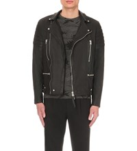 Allsaints Mishima Leather Biker Jacket Ink Navy