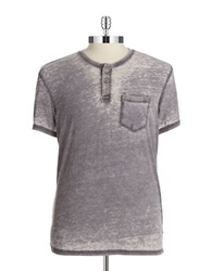 William Rast Pocket Henley T Shirt Charcoal
