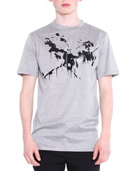Lanvin Splashed Short Sleeve Tee Heather Gray Size Small