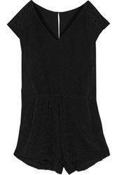 Iro Austin Embroidered Chiffon Playsuit Black