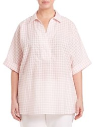 Lafayette 148 New York Plus Size Sheer Check Plaid Blouse Daylily
