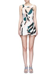C Meo Collective 'All Cried Out' Cutout Front Art Deco Print Rompers Multi Colour