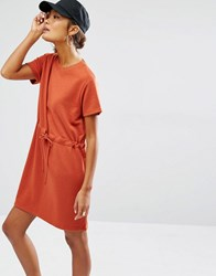 Daisy Street Short Sleeve Sweater Dress With Draw String Waist Rust
