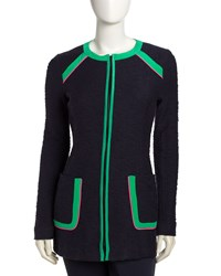 Oonagh By Nanette Lepore Contrast Trim Zip Front Blazer Navy