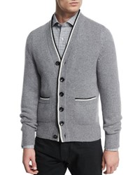 Tom Ford Cashmere Varsity Button Down Cardigan Light Gray Light Grey