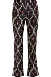 Giambattista Valli Cropped Satin Jacquard Slim Leg Pants Navy Pink