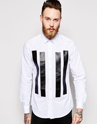 Asos Smart Shirt With Long Sleeve And Leather Look Panels White