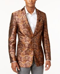 Tallia Men's Big And Tall Burgundy Gold Paisley Sportcoat