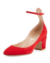 Valentino Tan Go Ankle Strap 60Mm Pump Red