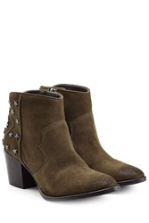 Zadig And Voltaire Embellished Suede Ankle Boots Green
