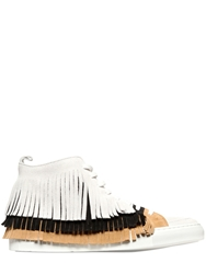 Giacomorelli Fringed Suede High Top Sneakers Off White