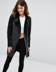 Only Longline Faux Shearling Contrast Biker Coat Black