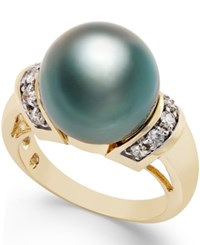 Macy's Cultured Tahitian Pearl 12Mm And Diamond 1 4 Ct. T.W. Ring In 14K Gold