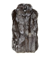 Vince Fox Fur Gilet Female Brown