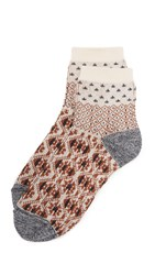 Madewell Pattern Colorblock Ankle Mid Socks Brown Cream