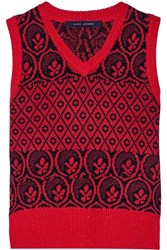 Marc Jacobs Metallic Fair Isle Wool Blend Sweater Red