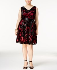 Si Fashions Sl Plus Size Floral Print Fit And Flare Dress Black Pink