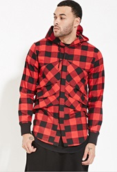 Forever 21 Unknown Buffalo Plaid Hoodie Red Black