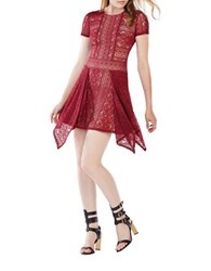 Bcbgmaxazria Aileen Floral Lace Dress Deep Cranberry