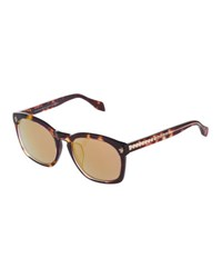 Alexander Mcqueen Mirrored Square Acetate Sunglasses Havana Crystal