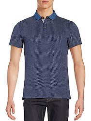 Saks Fifth Avenue Trim Fit Printed Denim Collar Polo Shirt