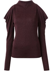 G.V.G.V. Open Shoulder Jersey Top Brown