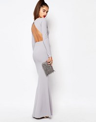 Missguided Long Sleeve Open Back Maxi Dress Ice Grey