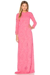 Hoss Intropia Long Sleeve Embroidered Maxi Dress Pink