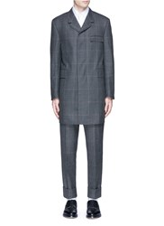 Thom Browne Glen Plaid Hairline Overcheck Wool Coat Grey