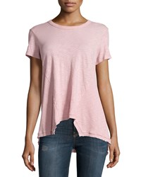 Jethro Short Sleeve Rib Paneled Slouchy Tee Misty Rose