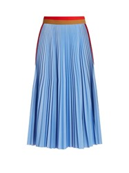 Msgm Striped Panel Pleated Skirt Light Blue