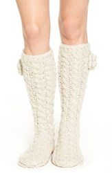 Lemon Women's 'Garden Marshmallow' Slipper Socks With Faux Fur Lining