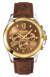Versus By Versace Chronograph Leather Strap Watch 44Mm Brown Gold Silver
