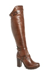 Charles David Women's Delaware Knee High Buckle Strap Boot Brown Leather