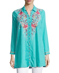 Johnny Was Embroidered Button Front Blouse Aqua Teal