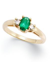 Macy's 14K Gold Ring Emerald 3 8 Ct. T.W. And Diamond 1 8 Ct. T.W 3 Stone Ring Green