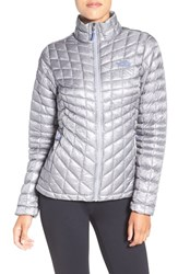 The North Face Women's 'Thermoball Tm ' Primaloft Front Zip Jacket Mid Grey Coastal Fjord Blue