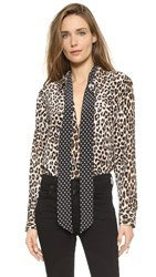 Equipment Kate Moss Slim Signature Blouse With Removable Tie Natural