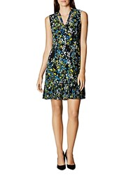 Karen Millen Floral Print Tie Neck Dress Black Multi