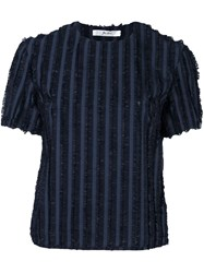 Julien David Striped Frayed Top Blue