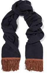 Autumn Cashmere Suede Trimmed Scarf Midnight Blue