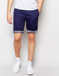 Ted Baker Chino Shorts With Contrast Turn Up In Slim Fit 12 Dark Blue