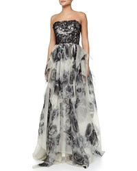 Marchesa Strapless Lace Bodice Organza Skirt Floral Print