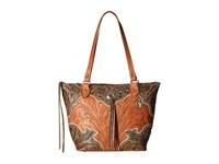 American West Heart Of Gold Zip Top Bucket Tote Distressed Charcoal Brown Golden Tan Cream Tote Handbags