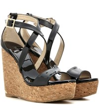 Jimmy Choo Portia 120 Patent Leather Wedge Sandals Black