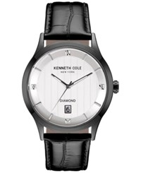 Kenneth Cole New York Men's Diamond Accent Black Leather Strap Watch 42X50mm 10030661