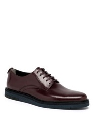 Fendi Hunting Leather Derby Shoes Burgundy