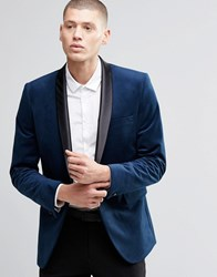 Farah Skinny Velvet Blazer With Shawl Lapel Navy