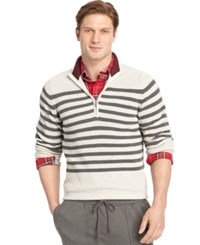 Izod Stripe Mockneck Quarter Zip Sweater Edifice Heather