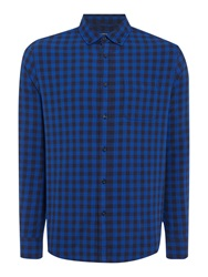 Criminal Mercer Gingham Long Sleeved Shirt Blue